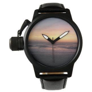 Relógio De Pulso Por do sol bonito no impressão da praia