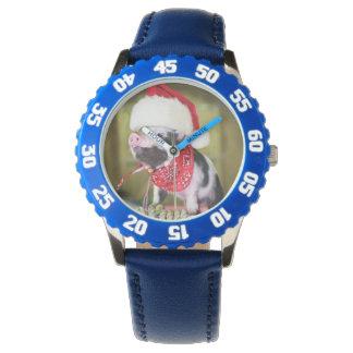 Relógio De Pulso Porco Papai Noel - porco do Natal - leitão