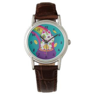 Relógio De Pulso Pote de boa sorte de Maneki Neko do gato de ouro