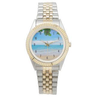 Relógio De Pulso Praia tropical azul bonita