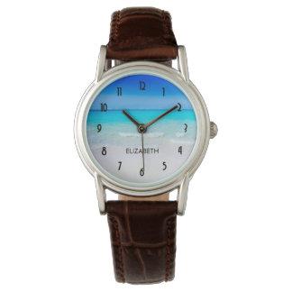Relógio De Pulso Praia tropical com um mar de turquesa