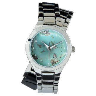 Relógio De Pulso Prata das mulheres da imagem de pedra preciosa de
