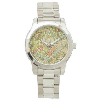 Relógio De Pulso Pre-Raphaelite dourado do vintage do lírio de