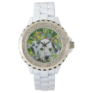 Relógio De Pulso Preto bonito seletor-placa Dalmatian manchada do