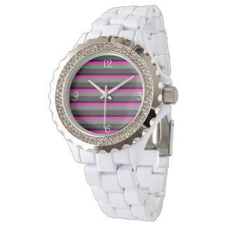 Relógio De Pulso preto cor-de-rosa de néon brilhante na moda e