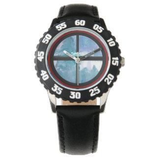 Relógio De Pulso Preto de aço inoxidável da moldura numerado