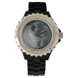 Relógio De Pulso Preto de aço inoxidável do Pug-Costume