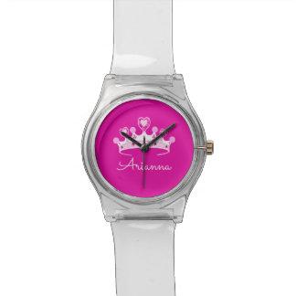 Relógio De Pulso Princesa Coroa Costume Personalized do rosa quente
