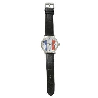 Relógio De Pulso Pulso de disparo para patriotas de France (couro