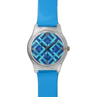 Relógio De Pulso Quadrados, cobalto e azul-céu geométricos modernos