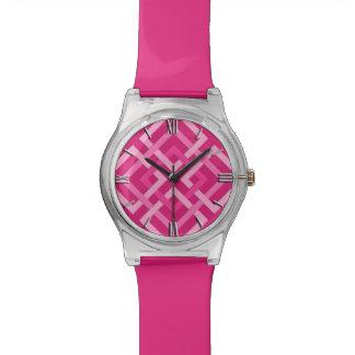 Relógio De Pulso Quadrados, fúcsia e luz geométricos modernos -