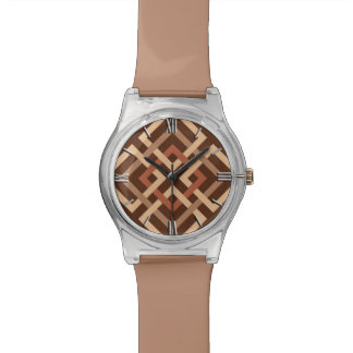 Relógio De Pulso Quadrados geométricos, castanho chocolate modernos