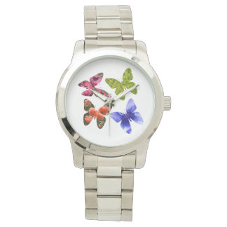 Relógio De Pulso Quatro borboletas da flor, grande unisex
