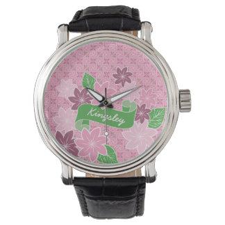 Relógio De Pulso Quimono cor-de-rosa de Japão da bandeira do verde