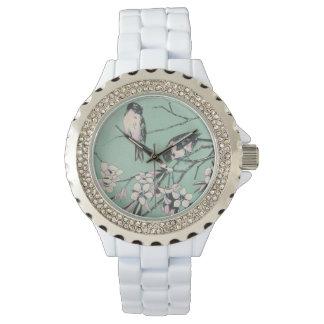 Relógio De Pulso Ramos de florescência com pássaros