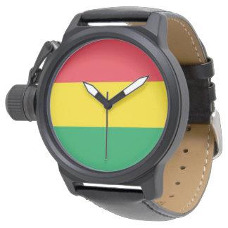 Relógio De Pulso Rasta colore o teste padrão vermelho amarelo verde