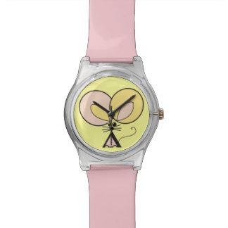 Relógio De Pulso Rato de bolso cor-de-rosa, ilustração gráfica