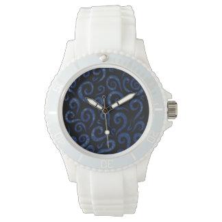 Relógio De Pulso Redemoinhos Textured azuis