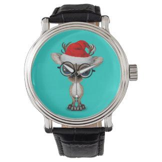 Relógio De Pulso Rena Nerdy do bebê que veste um chapéu do papai