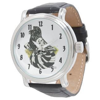 Relógio De Pulso Respingo escuro do pombo da trompetista