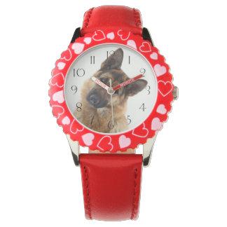 Relógio De Pulso Retrato engraçado adorável do german shepherd