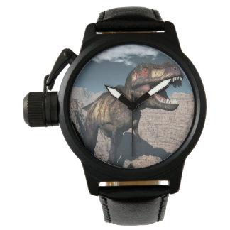 Relógio De Pulso Rex do tiranossauro que ruje em uma garganta