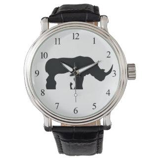 Relógio De Pulso Rinoceronte preto e branco