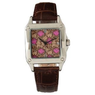 Relógio De Pulso Rosa da anêmona, do Brown e do fúcsia de William