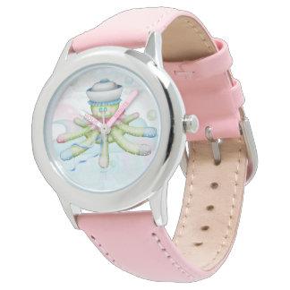 Relógio De Pulso Rosa de aço inoxidável dos DESENHOS ANIMADOS do