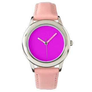 Relógio De Pulso rosa de aço inoxidável fúcsia roxo