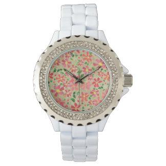 Relógio De Pulso Rosa do Clematis, vermelho, teste padrão floral
