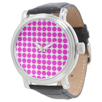 Relógio De Pulso Rosa do teste padrão de Polkadot do círculo das
