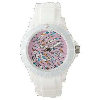 Relógio De Pulso Rosa Funky manchado de tinta do Scribble do teste