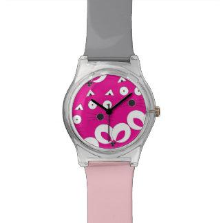 Relógio De Pulso Rosa quente do teste padrão do rato do gato