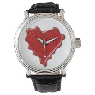 Relógio De Pulso Sara. Selo vermelho da cera do coração com Sara