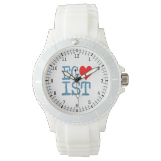 Relógio De Pulso Sarja de Nimes vermelha do coração do Egoist