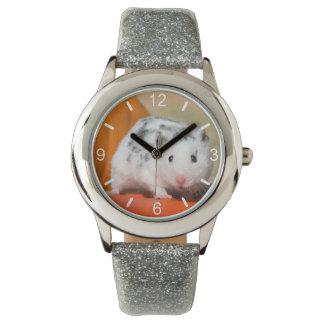Relógio De Pulso Seletor-placa manchada do hamster preto branco