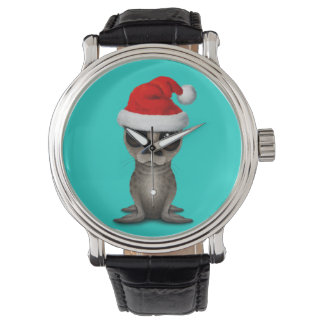 Relógio De Pulso Selo de bebê que veste um chapéu do papai noel