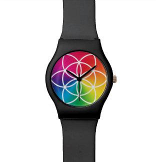 Relógio De Pulso Semente do arco-íris de Chakras do símbolo da vida
