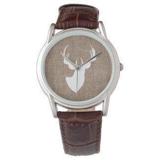 Relógio De Pulso Serapilheira de Brown e silhueta branca dos cervos