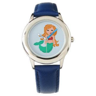 Relógio De Pulso sereia do oceano do geek do pixel 8Bit