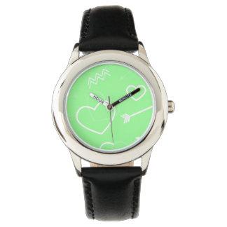 Relógio De Pulso Seta verde e branca da hortelã dos namorados do