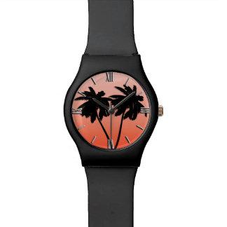 Relógio De Pulso Silhueta da palmeira na laranja do por do sol