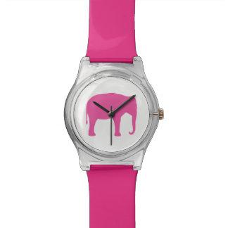 Relógio De Pulso Silhueta do elefante cor-de-rosa