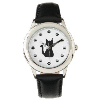 Relógio De Pulso Silhueta do gato preto com as patas como números