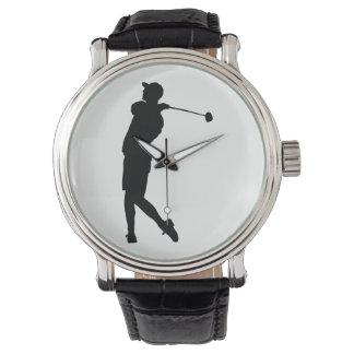Relógio De Pulso Silhueta do jogador de golfe
