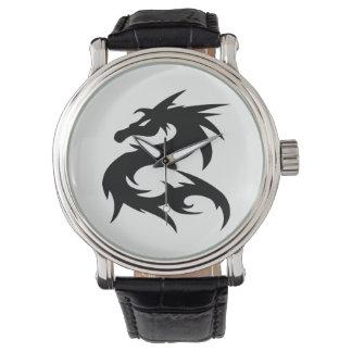 Relógio De Pulso Silhueta tribal do dragão