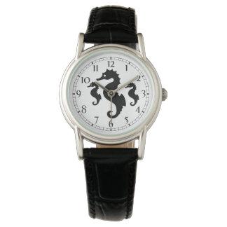 Relógio De Pulso Silhuetas preto e branco do cavalo marinho