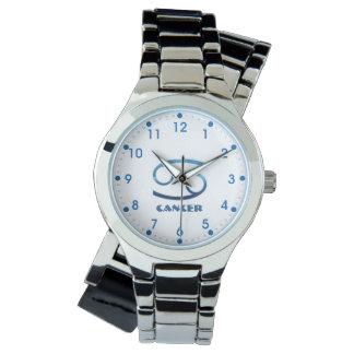 Relógio De Pulso Sinal azul do zodíaco do cancer no branco