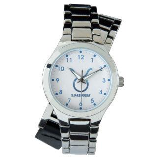 Relógio De Pulso Sinal azul do zodíaco do Taurus no branco